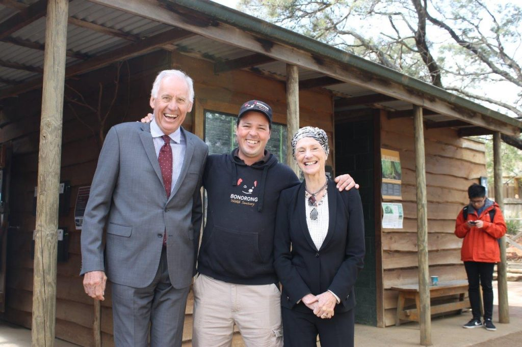 From left, Mr Richard Warner with Bonorong Wildlife Centre's Greg Irons and Her Excellency the Governor of Tasmania Professor Kate Warner.