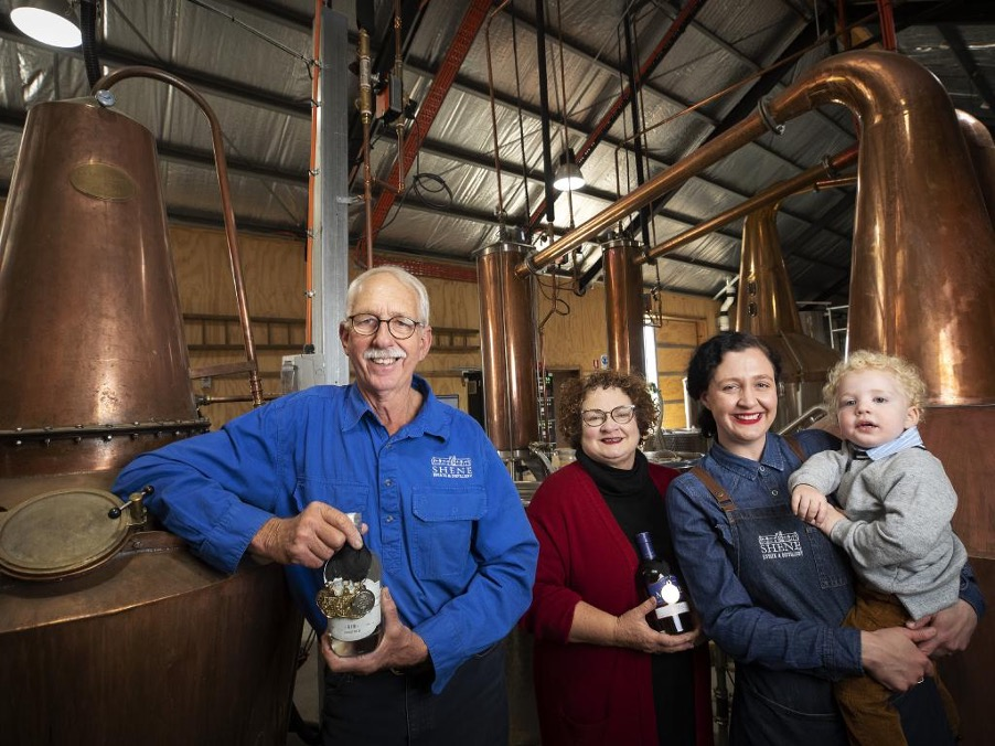 Anne and distiller David with daughter Myfanwy Kernke with baby George. Photo courtesy of Chris Kidd, the Mercury newspaper.